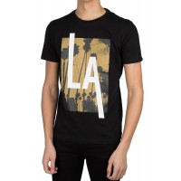 T-SHIRT REPLAY M3473.000.2660 PRINT LA ΜΑΥΡΟ