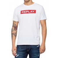 T-SHIRT REPLAY WRITING M3720 .00.2660 ΛΕΥΚΟ