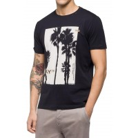 T-SHIRT REPLAY WITH PALM TREE PRINT M3734 .000.2660 ΜΑΥΡΟ