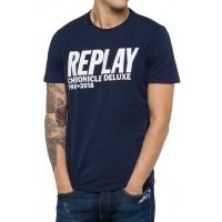 T-SHIRT REPLAY CHRONICLE DELUXE M3725 .000.2660 ΣΚΟΥΡΟ ΜΠΛΕ