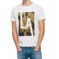 T-SHIRT REPLAY M3473.000.2660 PRINT LA ΛΕΥΚΟ