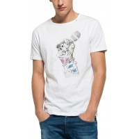 T-SHIRT REPLAY ΜΕ ΤΥΠΩΜΑ M3287 .000.2660 ΛΕΥΚΟ