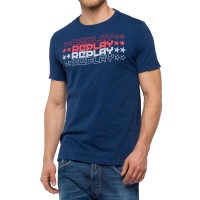 T-SHIRT REPLAY WITH STAR LOGO M3740 .000.22336 ΣΚΟΥΡΟ ΜΠΛΕ