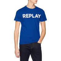 T-SHIRT REPLAY PRINTED LOGO M3594 .000.2660 ΜΠΛΕ ΗΛΕΚΤΡΙΚ