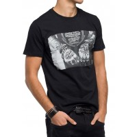 T-SHIRT REPLAY M3547.000.2660 PHOTO PRINT ΜΑΥΡΟ