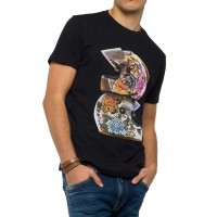 T-SHIRT REPLAY M3475.000.2660 HELMET PRINT ΜΑΥΡΟ